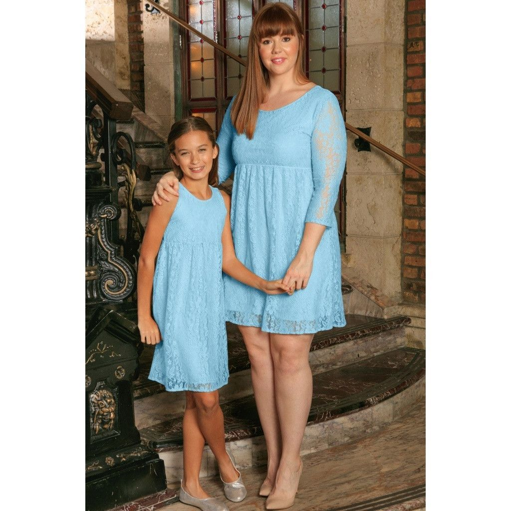 d63899a441 Baby Blue Stretchy Lace Beautiful Spring Empire Mommy and Me Dress ...