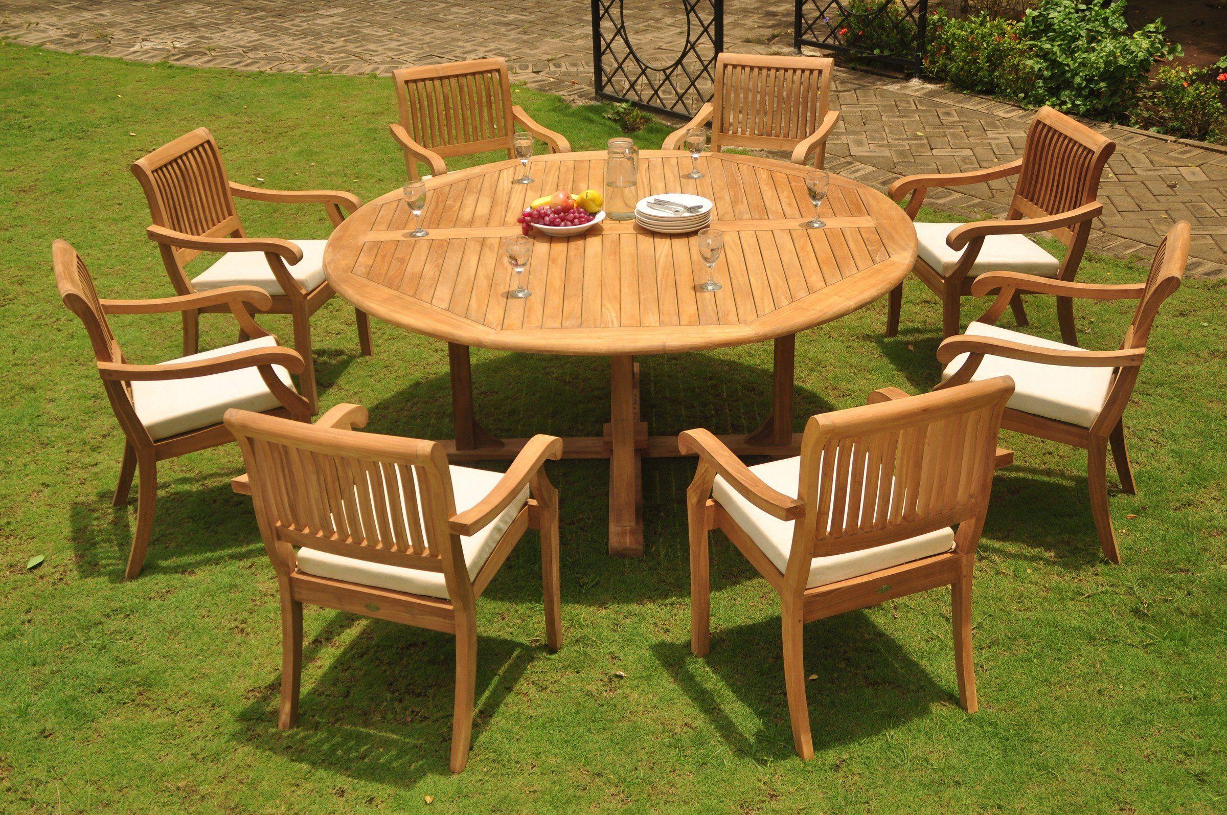 GradeA Teak Wood Dining Set 8 Seater 9 Pc: 72 Round Dining ...