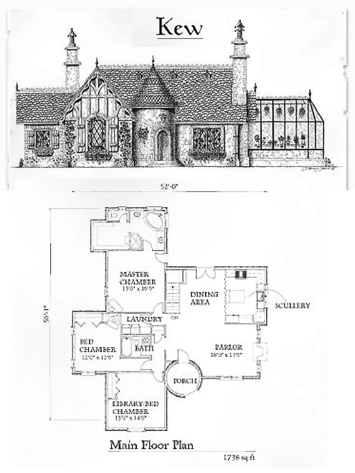 kew br 2 ba 1 story with turret entry and optional off kitchen greenhouse from storybook homes - Storybook Cottage House Plans