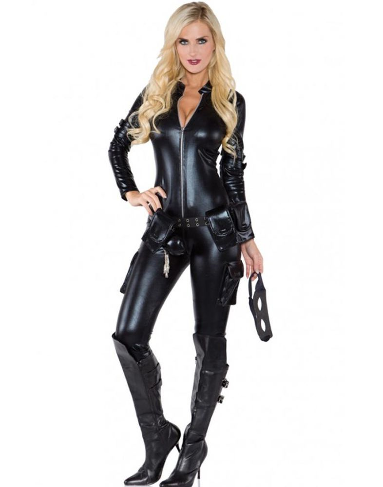 701df8df1 Sexy Black Widow Cat Suit Catwoman Womens Halloween Costume Bodysuit   Underwraps