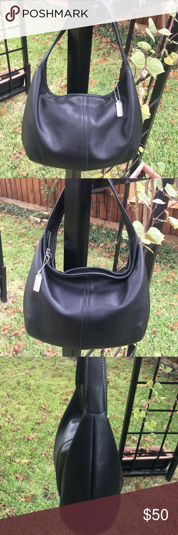 New Listing: Authentic Coach purse #9219 Authentic Coach bag in sumptuous black leather. Original Coach hang tag. Creed #L2B 9219 Made in the United States circa 2002 - Refurbished to like new condition. Lining is pristine. Leather is beautifully conditioned with no scuffs or scrapes. Coach Bags Shoulder Bags