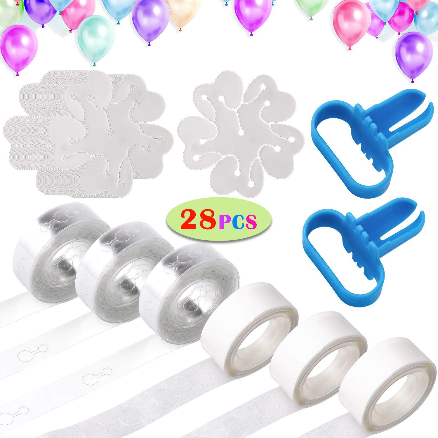 Tinabless Balloon Decorating Strip Kit, Balloon Garland Kit for Arch Garland with 48 Ft Balloon Tape Strip, 2 Pcs Tying Tool, 300 Dot Glue, 20 Flower Clip for Birthday, Wedding, Party Decorations * Click on the image for additional details. (This is an affiliate link)