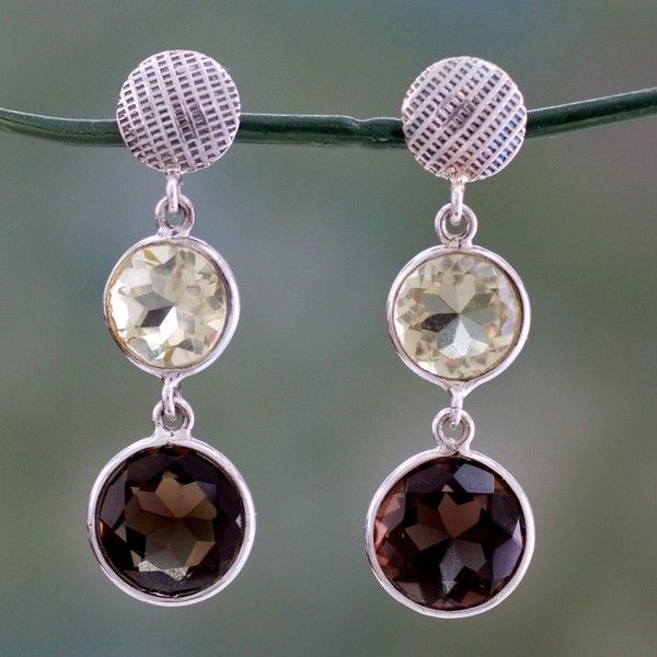 NOVICA Faceted Lemon Quartz and Smoky Quartz Earrings ($50) ❤ liked on Polyvore featuring jewelry, earrings, dangle, quartz, long earrings, novica jewelry, dangle earrings, lemon quartz earrings and smoky quartz jewelry