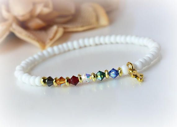 4a9c27a45c69 Salvation Bracelet Stretchable White Matte Beads Swarovksi Crystals ...