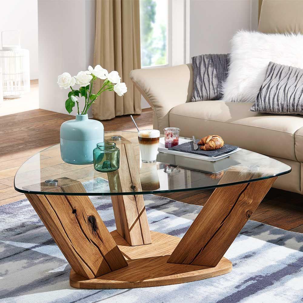 Amüsant Couchtisch Holz Und Glas Foto Von Wohnzimmertisch Aus Wildeiche Massivholz Dreieckig | Wohnzimmer