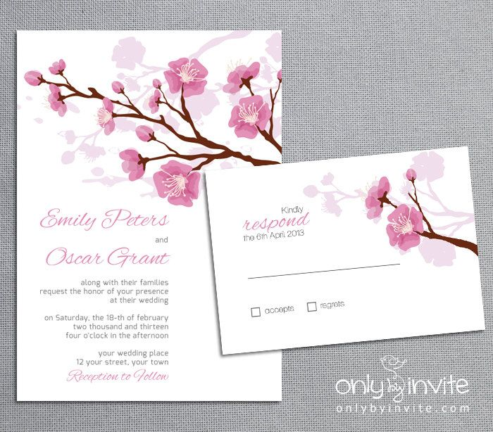 printed wedding invitation and info card bundle pink cherry