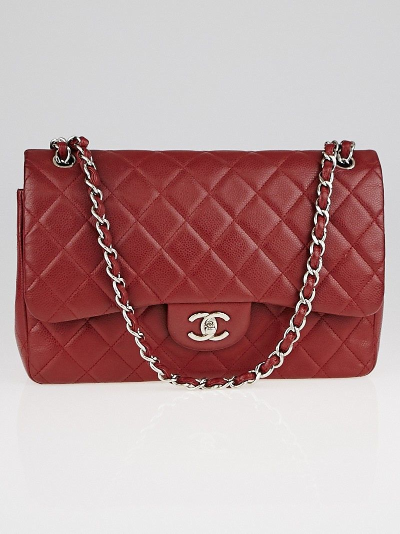 0194f5e99c22 Chanel Dark Red Quilted Caviar Leather Classic Jumbo Double Flap Bag ...