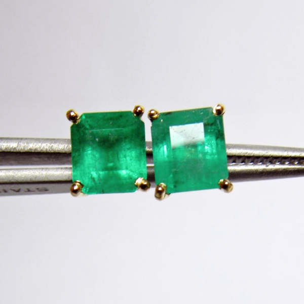 3c240f94b 2.10ct Genuine Natural Emerald Cut Colombian Emeralds Stud Earrings 18k Gold
