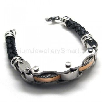 Mens Fashion Gold Anium Leather Cable Bracelet 18726