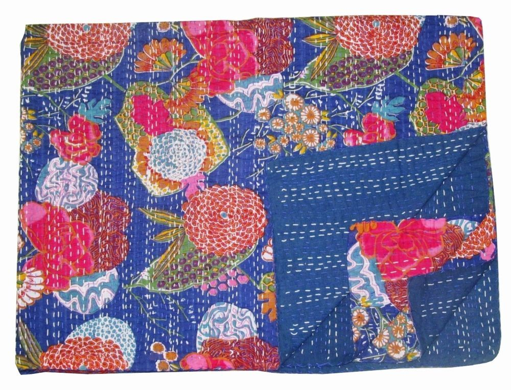 Indian Handmade Quilt Vintage Throw Cotton Twin Kantha Bedspread Blanket Ralli