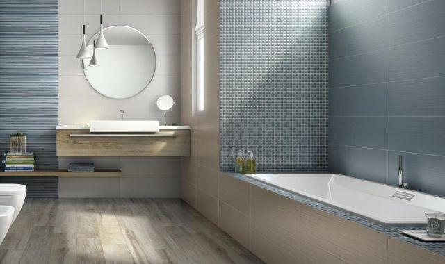 bad mit blauen mosaikfliesen matte glasur streifen muster ceramiche supergres bad gestaten. Black Bedroom Furniture Sets. Home Design Ideas