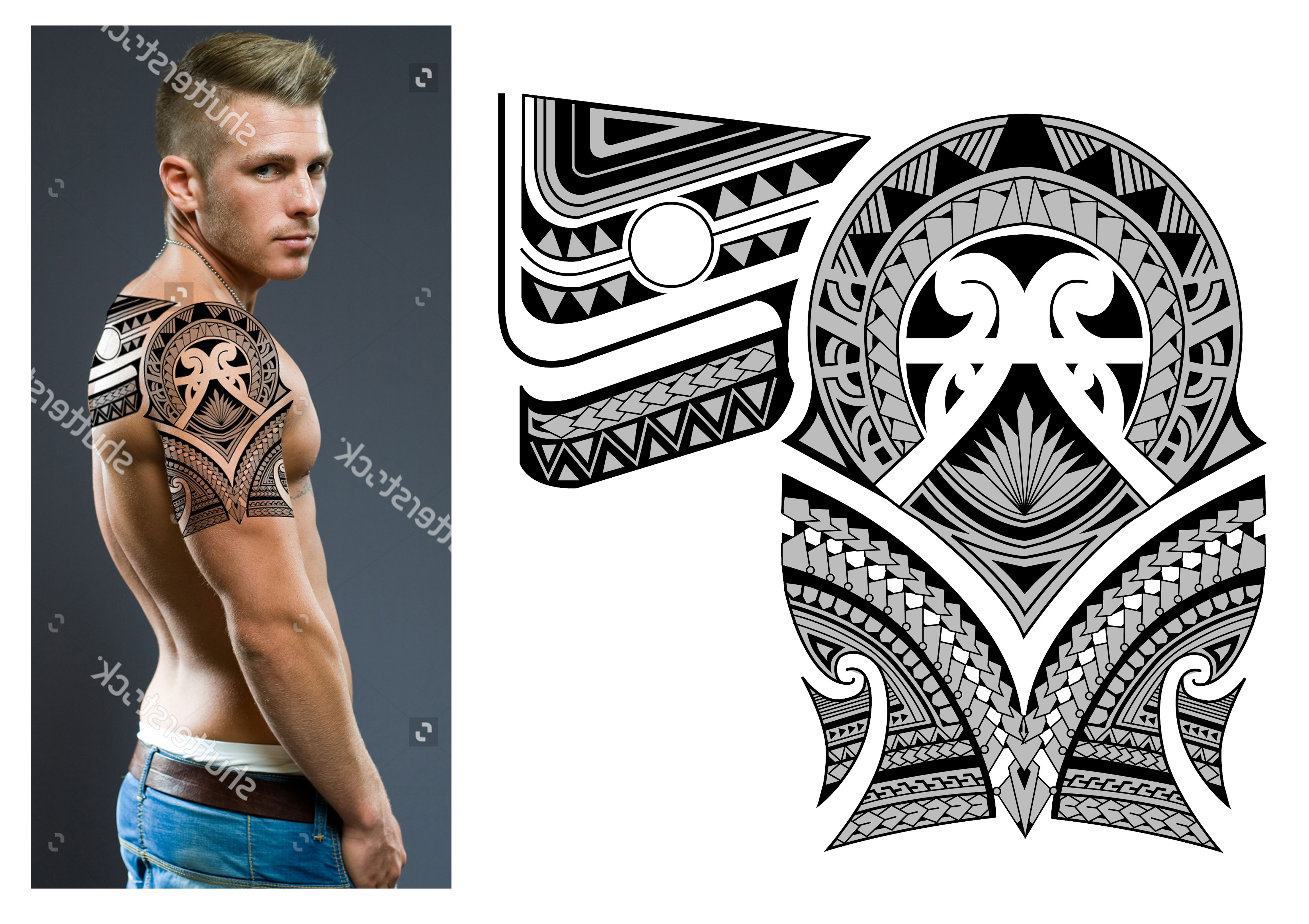 30 Polynesian Maori Half Sleeve Back Piece Tattoo Design