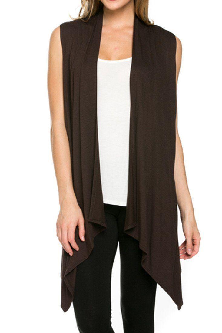 469e3b7380ee28 Solid Color Sleeveless Asymmetric Hem Open Front Cardigan (Dark Brown)
