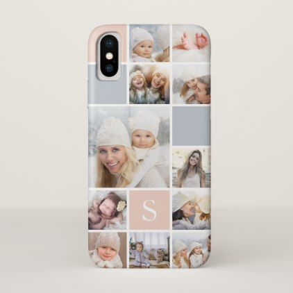 Blush & Gray Photo Collage & Monogram iPhone X Case - initial gift idea style unique special diy