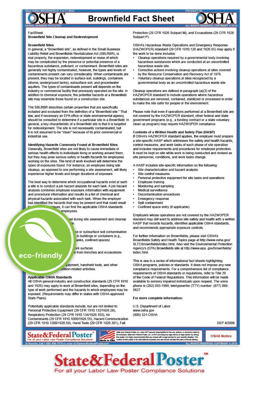 OSHA Brownfield Site Factsheet Safety Posters Safety