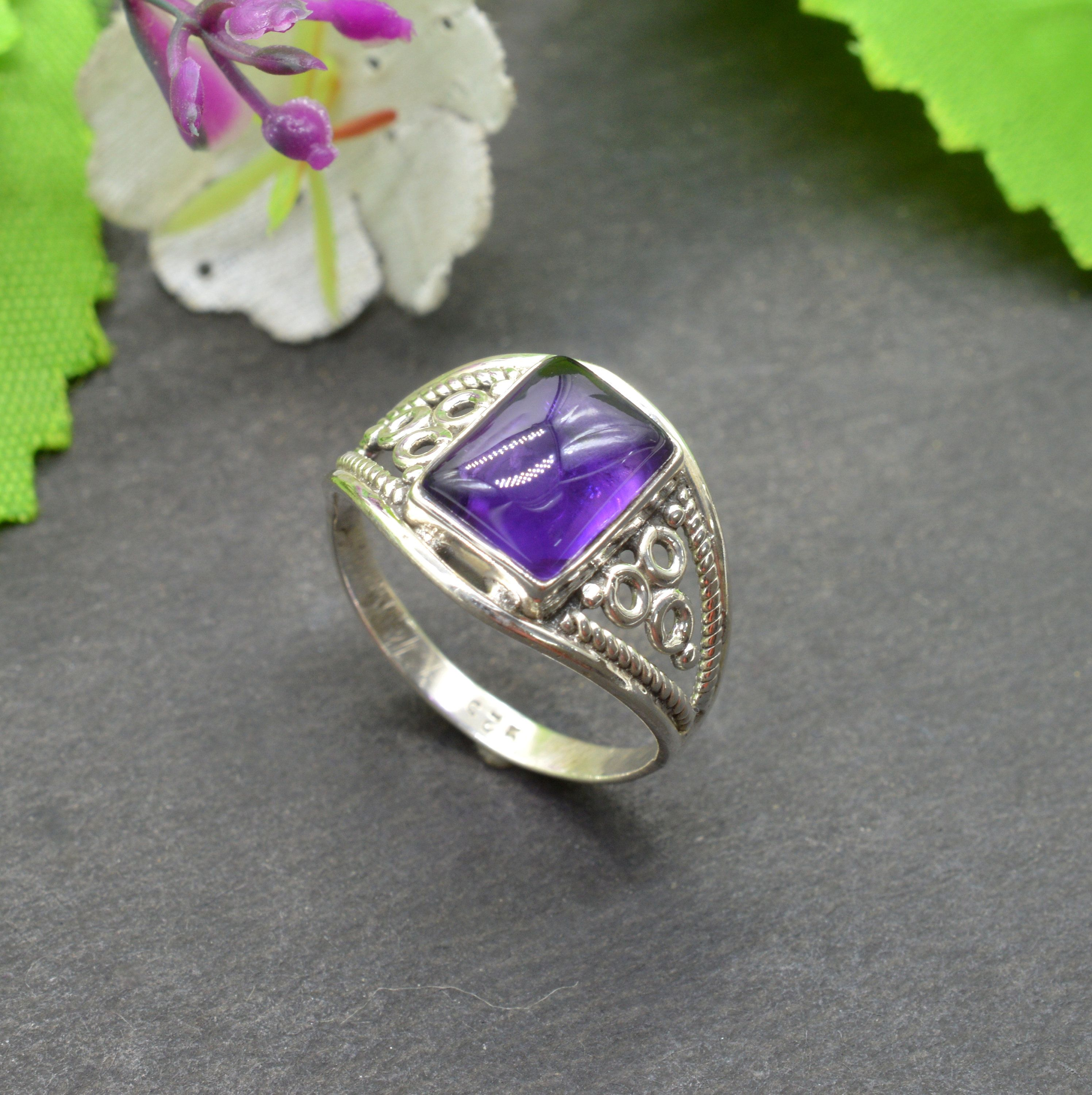 Five Stone Amethyst and Diamond Wedding Band-925 Sterling Silver Ring-Amethyst Gemstone ring-Natural Amethyst Ring-for Gift