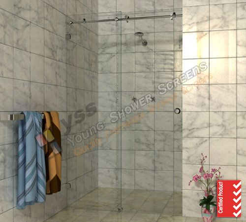 1190 1150 X 2000 Two Panel Wall To Wall Sliding Door Frameless Shower Screen Comfort Innovations Online Frameless Shower Shower Screen Wall Paneling
