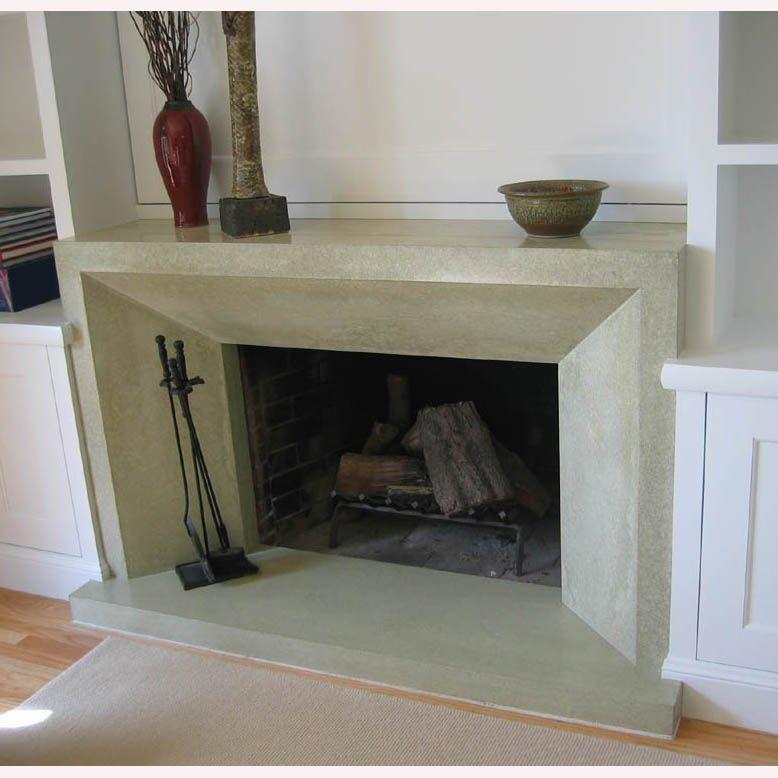 Custom Made Contemporary Polished Concrete Fireplace ...