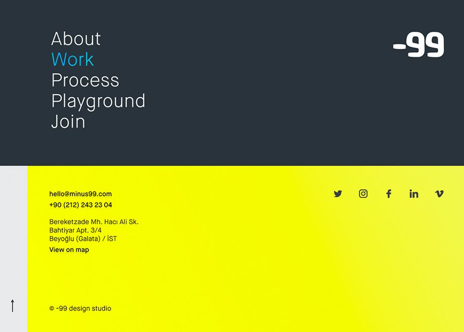 99 Design Studio Awwwards Sotd Footer Design Website Footer Clean Web Design