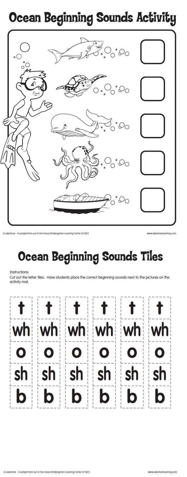 Ocean Beginning Sounds Activity Printable From Lakeshore Learning Kindergarten Ocean Activities Preschool Ocean Unit Kindergarten Preschool Alphabet Fun [ 1623 x 638 Pixel ]