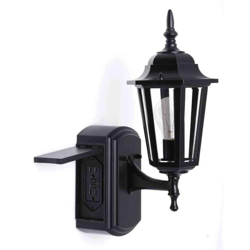 Turn Outdoor Light Into Outlet Interior House Paint Ideas Check More At Http Www Mtbasics Com Turn Outdoor L Wall Lantern Exterior House Lights Black Walls