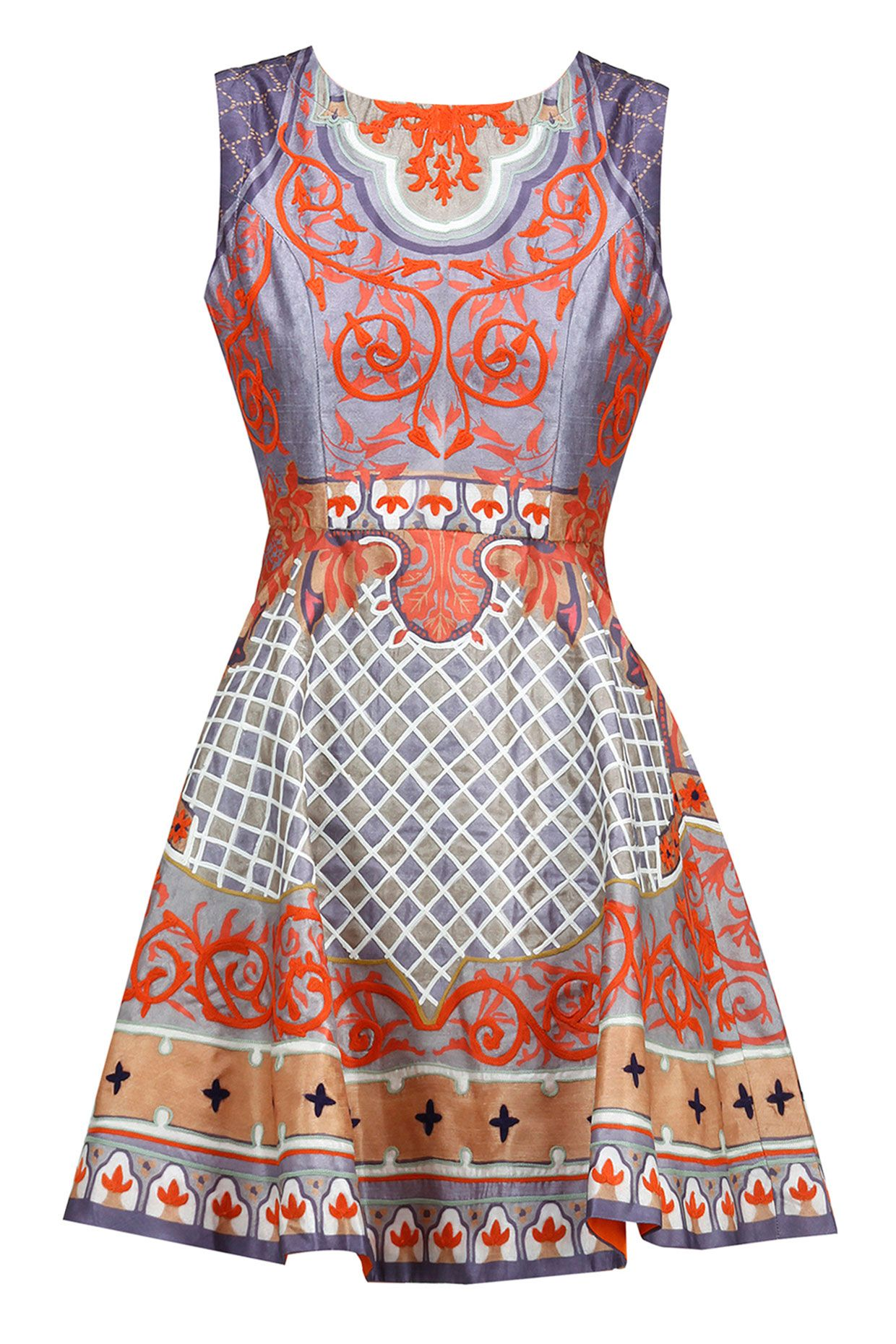 Multicolour printed and embroidered dress available only at perniaus