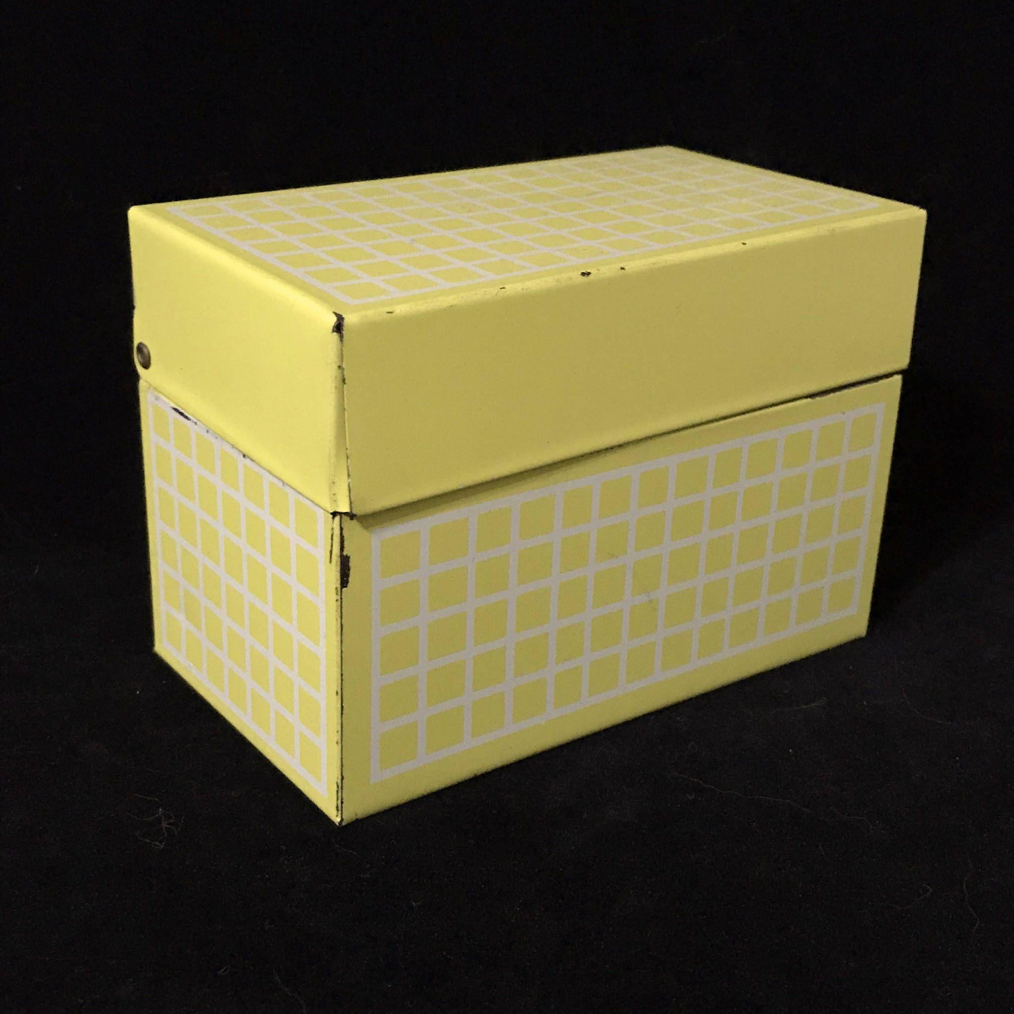 24vintage recipe box mid century yellow and white