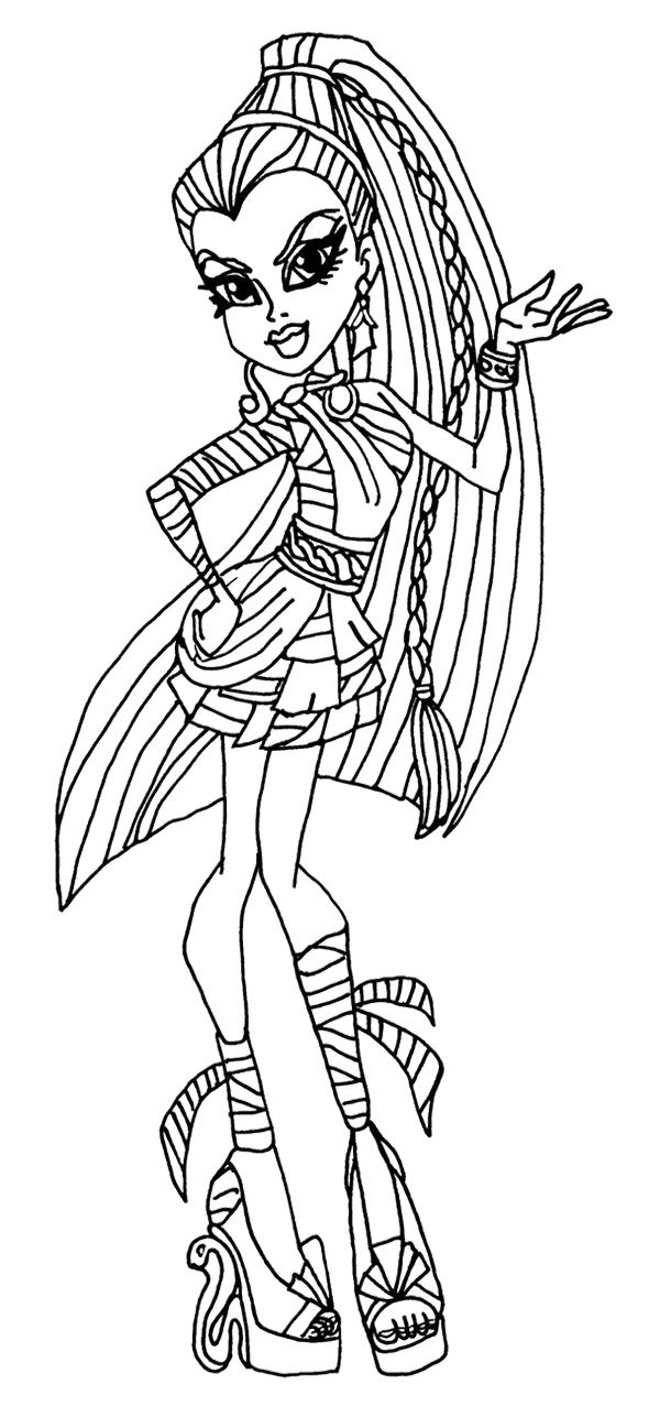 nefera de nile monster high coloring page monster high