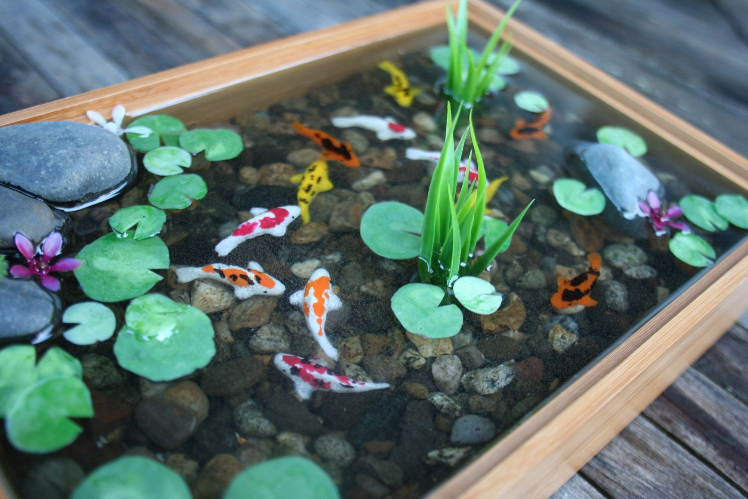 miniature koi pond in resin with wall hangers fairy