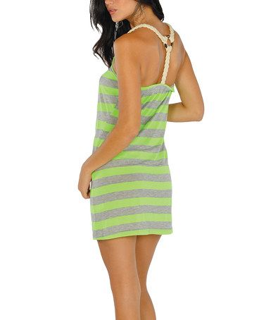Take a look at this Neon Green Stripe Racerback Dress by Lagaci Sport on #zulily today!