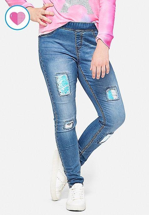 Justice Flip Sequin Knee Pull on Jean Legging Medium Wash