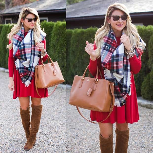 Red Dress + Oversized Flannel Scarf Cute Christmas Outfits, Red Christmas  Dress, Christmas Pics - 39 Cute Christmas Outfit Ideas StayGlam Fashion Outfits, Cute