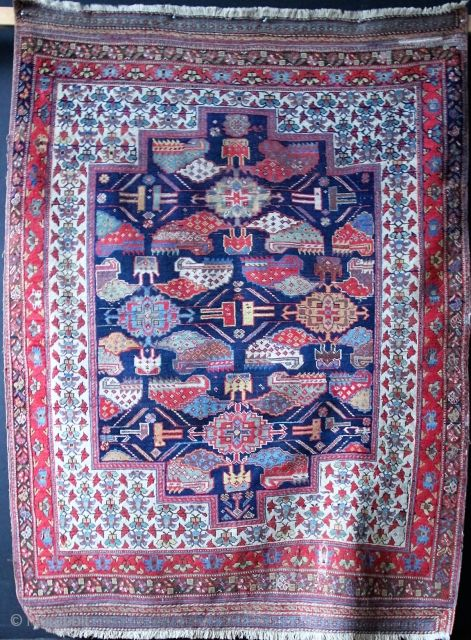 """Gorgeous Afshar rug ca 1890. Approx 5'10"""" x 4'2"""" with soumac ends"""