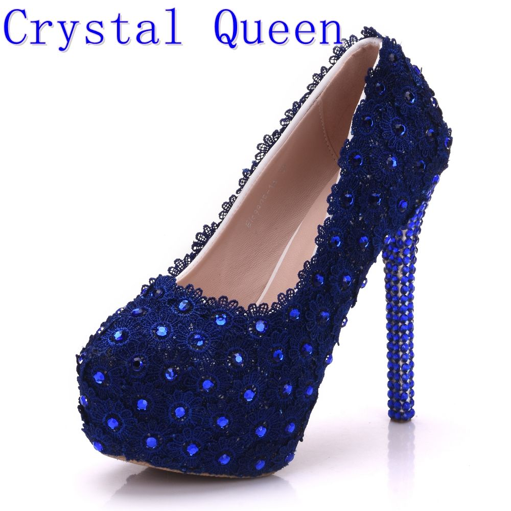 Crystal Queen Pink Lace Flower Wedding Shoes Rhinestone 14cm Ultra High  Heels Platform Shoes Women s Single 0467ce45a60b