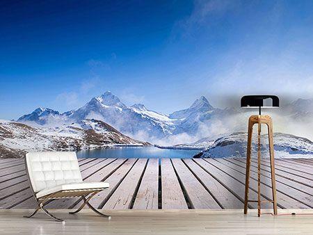 raumansicht wohnzimmer fototapete sonnenterrasse am schweizer bergsee einrichten pinterest. Black Bedroom Furniture Sets. Home Design Ideas