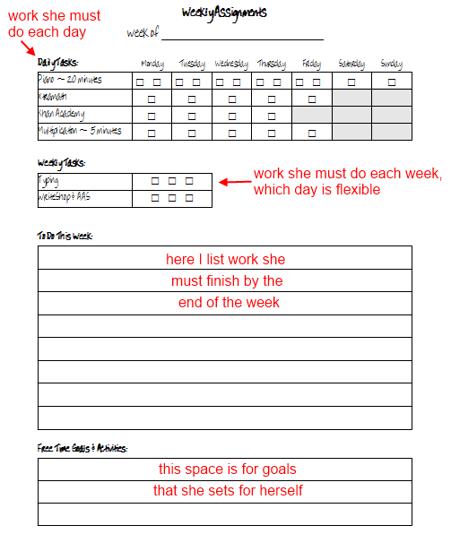 weekly assignment planner