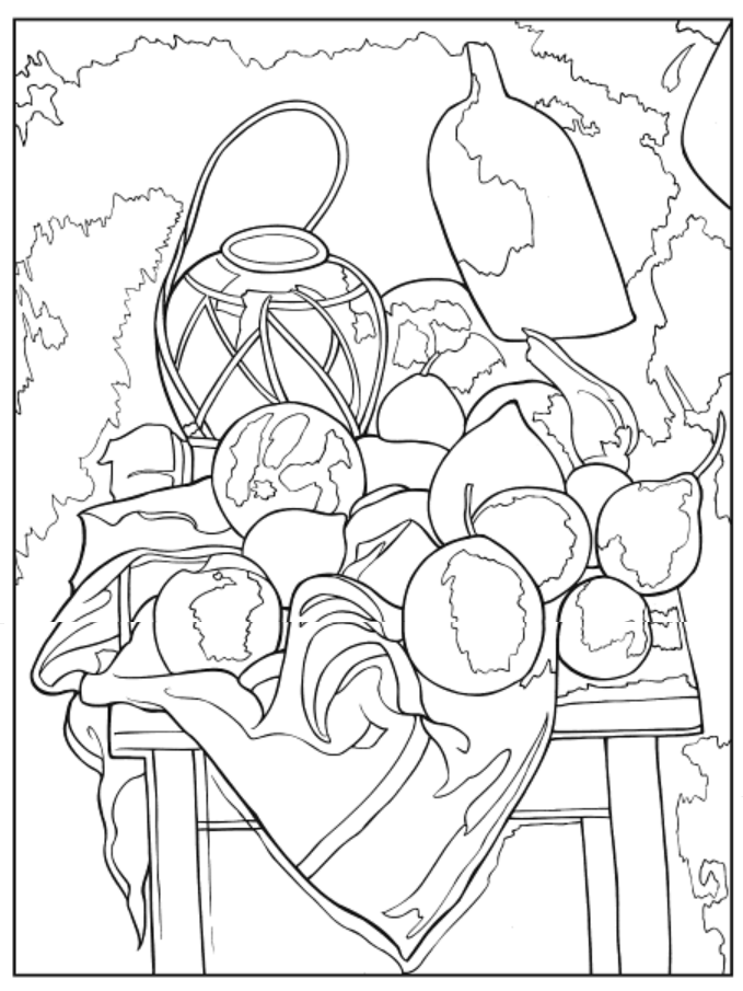 Color Your Own Still Life Paintings Coloring Book Dover Publications Coloring Pages Famous Art Coloring Books