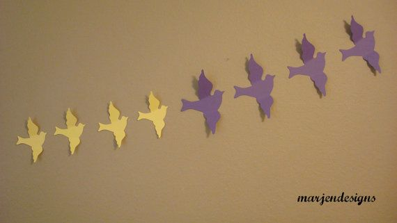 bird wall art, handmade paper design, bird decor, wedding decor, nursery decor, 3d wall decor, girl decor, baby boy decor, bedroom decor