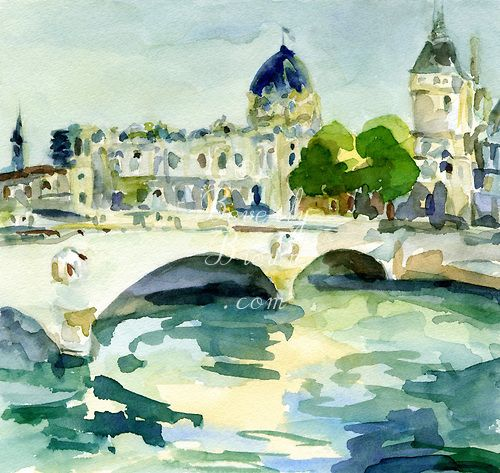 An Impressionistic Watercolor Painting Of The Pont De Change