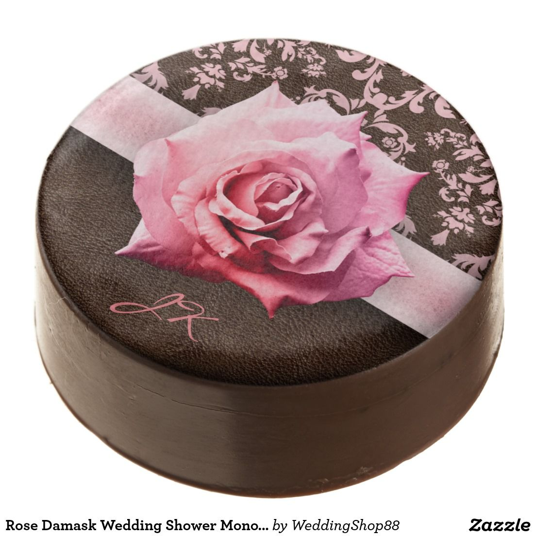 Rose Damask Wedding Shower Monogram Chocolate Dipped Oreo | Dipped ...