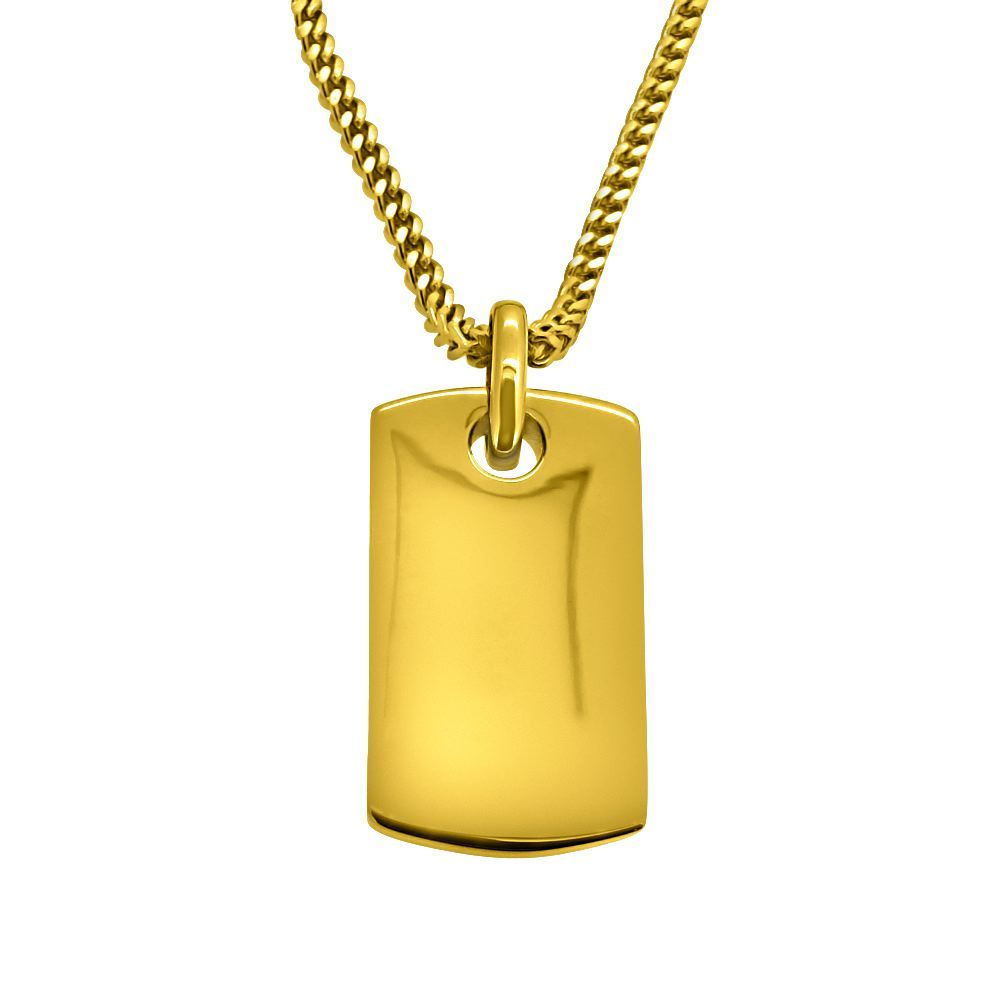 Hiphopbling 5x thick ip gold plated polished dog tag pendant the hiphopbling 5x thick ip gold plated polished dog tag pendant the dogtag is high polished aloadofball Image collections