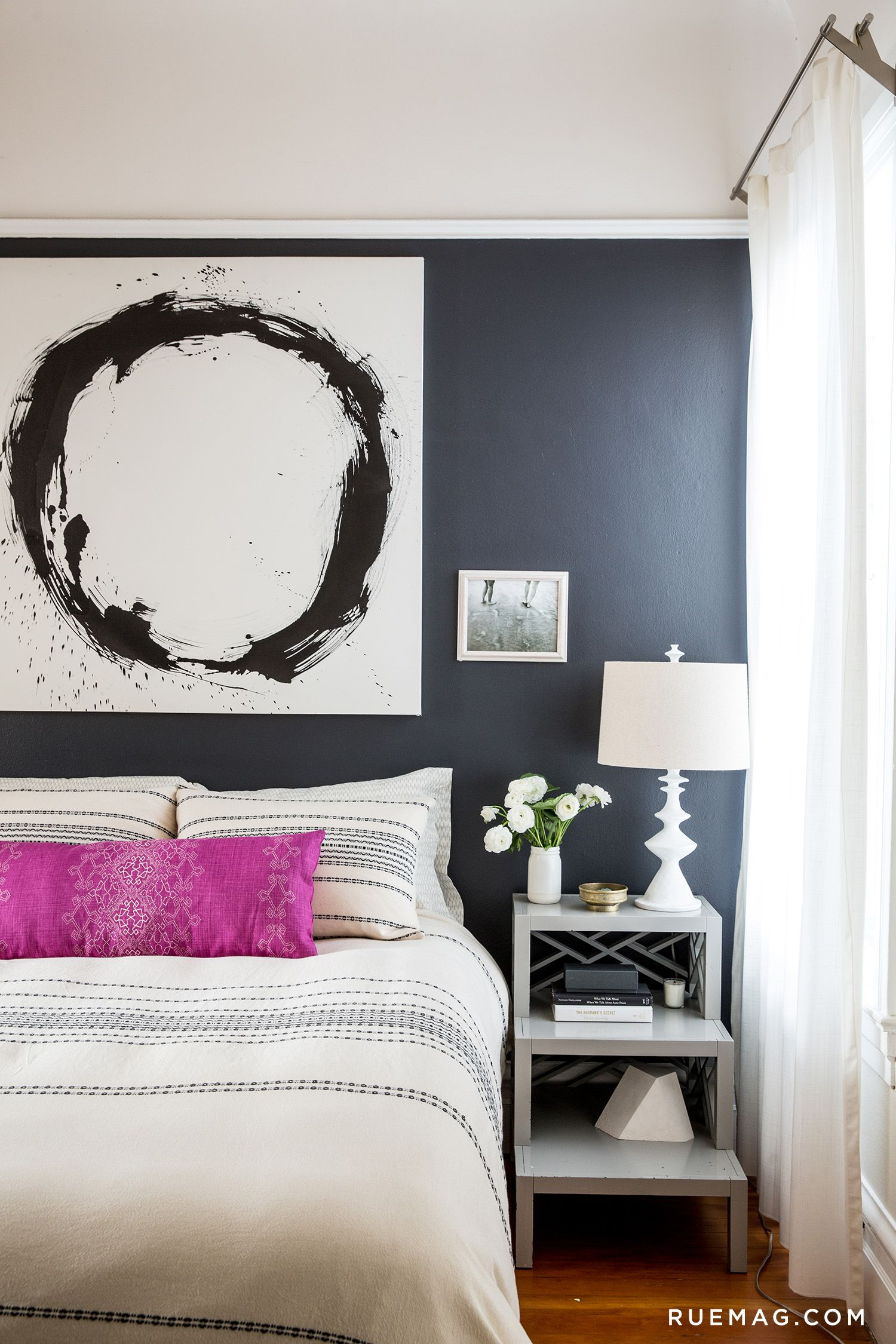 *Rue Magazine - Black Accent Wall and Black + White Painting