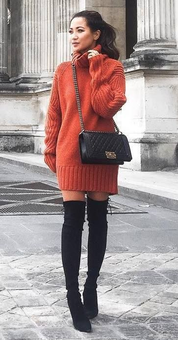 what to wear with over the knee boots : sweater dress + bag