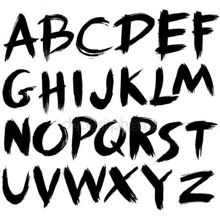 hand drawn font brush stroke alphabet grunge style tattoo