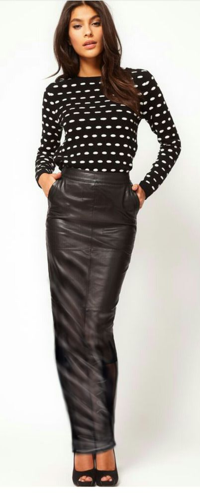 Long Tight Leather Skirt Fashion Skirts