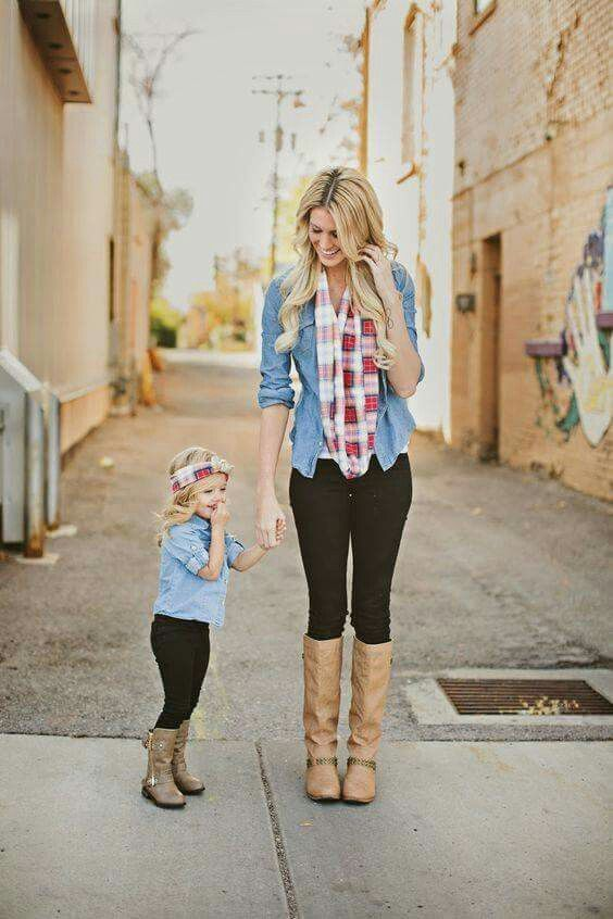 435ea9b6ad214 Mommy and me matching plaid and chambray outfits More