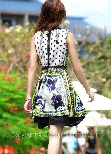 White Lapel Sleeveless Back Zipper Floral Dress