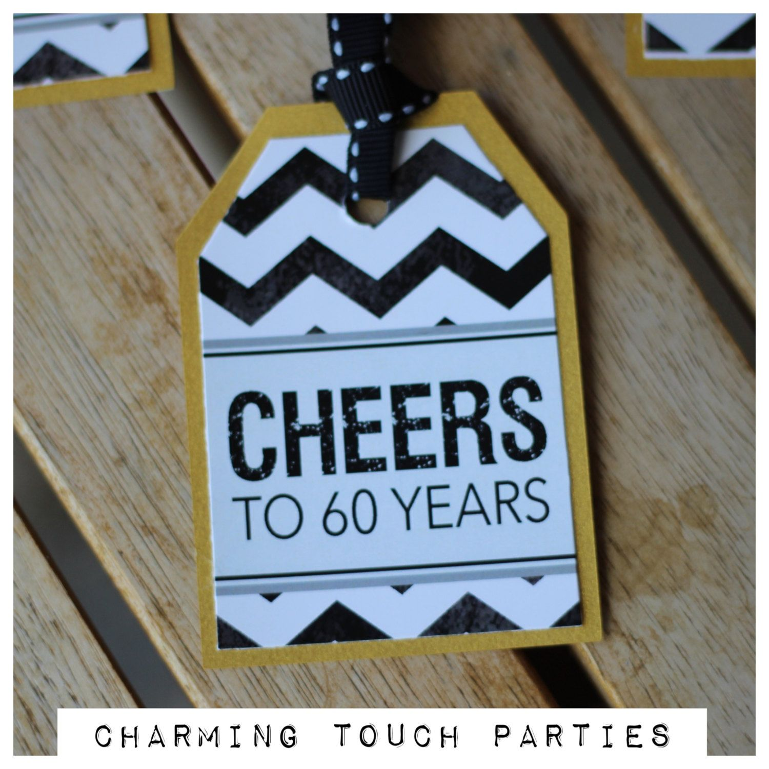 60th Birthday Favor Tags Cheers to 60 Years Milestone Party