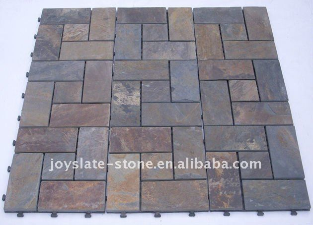 Diy Interlocking Outdoor Slate Floor Tile Outdoor Flooring