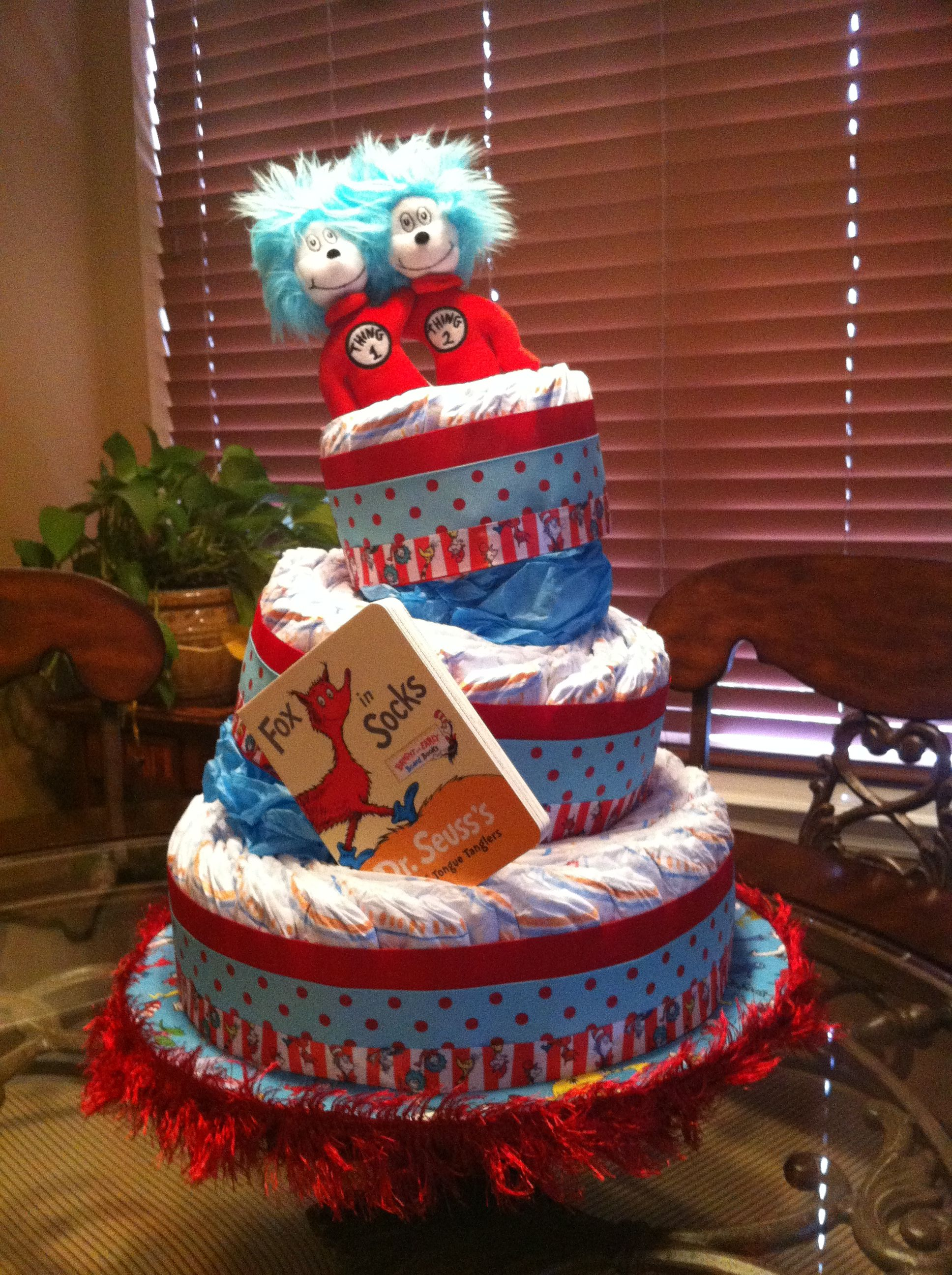Dr Suess Themed Diaper Cake I Made For Dr Suess Baby Shower We